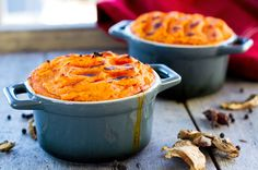 Beef & Porcini Shepherd's Pies (omit any dairy products and technically wine too (but you've got to live a little!))