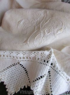 """Antique French Monogrammed AB Linen Towel fringed 56"""" x 29""""  Vintageblessings"""