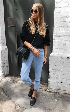 45 Cute Outfits Ideas For Spring with Black Bags Mode Outfits, Casual Outfits, Fashion Outfits, Girly Outfits, Fashion Tips, Mode Style, Style Me, Basic Style, Look Jean