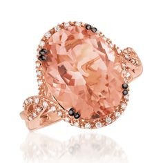Le Vian® Peach Morganite™ Ring in 14k Strawberry Gold®   Gemstone and Diamond Fashion Ring | Bremer Jewelry