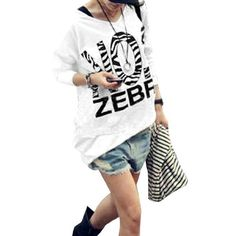 Allegra K Ladies V Neck Long Sleeve Zebra Pattern Autumn Bottoming Shirt White XS Allegra K. $12.83
