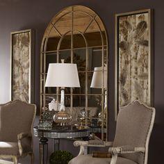 Tuscan design – Mediterranean Home Decor Foyer Decorating, Tuscan Decorating, Elegant Home Decor, Elegant Homes, Uttermost Mirrors, Arch Mirror, Mirror Glass, Floor Mirrors, Metal Mirror