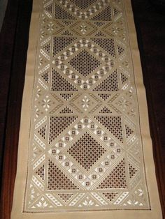 """Hardanger Embroidery Design Type of Hardanger calls """"Antep İşi"""" by lela Types Of Embroidery, Learn Embroidery, Embroidery Patterns Free, Embroidery Stitches, Hand Embroidery, Embroidery Designs, Bookmark Craft, Drawn Thread, Hardanger Embroidery"""
