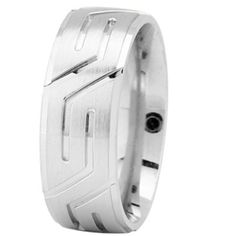 Masculine Men's Solid 14k White Gold Wedding Ring - Inside Ring Engraving Available on Etsy, $825.00