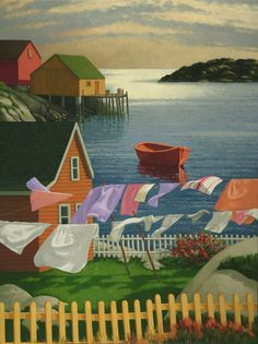 Captures the spirit of my maritime roots. Halifax Artist, Paul Hannon and his whimsical images of Halifax and coastal Nova Scotia. Nova Scotia, Painting & Drawing, Watercolor Paintings, Watercolors, Am Meer, Naive Art, Canadian Artists, Beautiful Paintings, Painting Inspiration