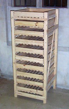 Wooden Fruit and Apple Storage Rack - 10 Drawer