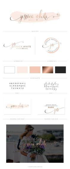 Premade Logo, Watercolor Logo Design, Logo Design, Custom Logo Design, Premade Branding Package, Rose gold, Business Brand, Watermark, Stamp