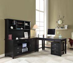 """Pandora black finish wood """"L"""" shaped desk set. This desk set features the Credenza desk, hutch, corner desk, office desk and file cabinet. Desk measures x x H. File cabinet x x H. Corner desk measures x x H. Acme Furniture, Furniture Sets, Wooden Corner Desk, Black Office Furniture, Office Desk Set, Office Table, Contemporary Desk, Black Desk, Black Hutch"""