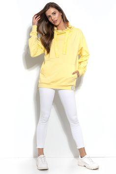 Cotton Cowl-Neck Sweatshirt In Lemon-Yellow European Fashion, Timeless Fashion, Lemon Yellow, Online Shopping Clothes, Cowl Neck, White Jeans, Blouses, Boutique, Clothes For Women