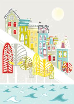 San Francisco Hill houses  art print by lauraamiss on Etsy. , via Etsy.