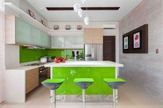 5 Ideas to Steal from a Modern Asian Home in Bulacan Glass Kitchen Cabinets, Painting Kitchen Cabinets, Kitchen Island, Real Living Magazine, House And Home Magazine, Modern House Philippines, Modern Family, Home And Family, Stone Cladding Exterior
