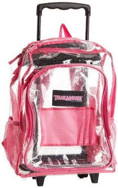 c3010757b4d Trailmaker Girls 7-16 Rolling Glitter Backpack, Clear, One Size Trailmaker.   24.99. Glitter clear. Rolling backpack. Made in China. 100% vinyl. Hand  Wash.