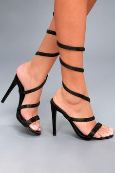 ba97b50e5849e2  Lulus -  Lulus Raven Black Rhinestone Spiral Ankle Wrap Heels - AdoreWe.com