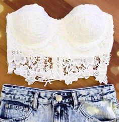 3257ddc167f651 shirt shorts tank top lace bustier crochet too lace too white crochet too  white lace too white summer top white lace strapless crop tops blouse event