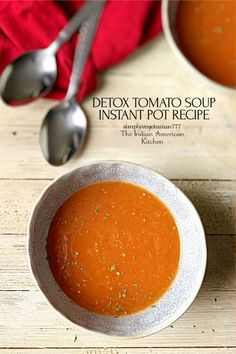Vegan & Glutenfree Detox Soup made in Instant Pot. It is super easy and delicious. #vegantomatosoup #tomatosoup #instantpottomatosoup Vegan Tomato Soup, Tomato Soup Recipes, Lentil Recipes, Vegan Recipes, Vegan Food, Food Food, Easy Recipes, Vegan Appetizers, Appetizer Recipes