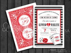 CASINO NIGHT! Invitation for a birthday party or bridal shower. To order please email invitacionesdivanessa@yahoo.com or follor me on facebook!
