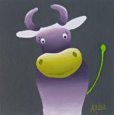 TABLEAU PEINTURE vache décoration chambre enfant - Petite vache coquette