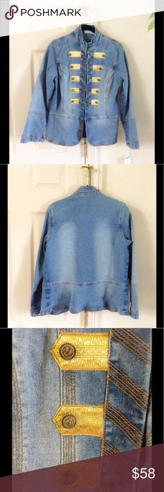 DG2 military denim jacket NWT hook and eye front closures. Size xs but fits more like a small. DG2 Jackets & Coats Jean Jackets