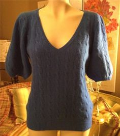 Ralph-Lauren-Black-Label-Blue-Cashmere-Short-Sleeve-Sweater-Size-Large