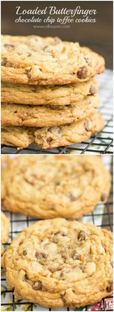 Loaded Butterfinger Chocolate Chip Toffee Cookies recipe, great desserts for birthday party, snacking, after school treats, and gifting (Chocolate Party Snacks) Toffee Cookie Recipe, Toffee Cookies, Best Cookie Recipes, Best Dessert Recipes, Yummy Cookies, Chocolate Chip Cookies, Baking Recipes, Chocolate Party, Homemade Cookies