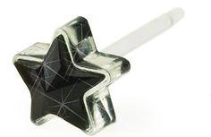 Blomdahl Medical Plastic Jet Black 6mm Star Earrings