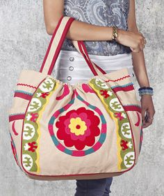 Tea Dip Suzani Droplet Hobo Bag