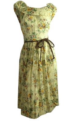 Sunlight Yellow Voile Cotton Floral Summer Dress circa 1950s - Dorothea's Closet Vintage
