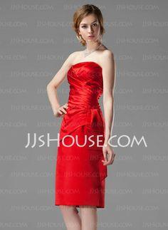 Bridesmaid Dresses - $86.99 - Sheath Strapless Knee-Length Satin Bridesmaid Dresses With Ruffle (007001801) http://jjshouse.com/Sheath-Strapless-Knee-length-Satin-Bridesmaid-Dresses-With-Ruffle-007001801-g1801