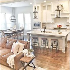 Awesome Farmhouse Decorating Open Kitchen to Living area 66 75 Warm and Cozy Far. Awesome Farmhouse Decorating Open Kitchen to Living area 66 75 Warm and Cozy Farmhouse Style Living Room Decor Ideas 3 Modern Farmhouse Living Room Decor, Home Decor Kitchen, Kitchen Living, Farmhouse Style, Rustic Farmhouse, Modern Living, Farmhouse Design, Country Living, Country Kitchen