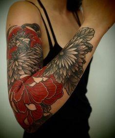 New Full Sleeve Flower Tattoo Ideas for Girls