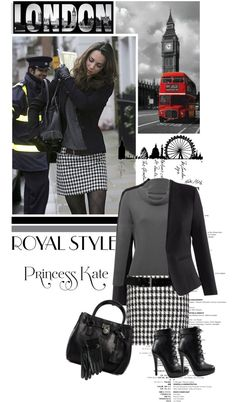 """houndstooth skirt, grey top, print tights and black jacket """"royal style"""". Casual Fall Outfits, Fall Winter Outfits, Trendy Outfits, Winter Fashion, Houndstooth Skirt Outfit, Mode Rockabilly, Traje Casual, Royal Style, My Style"""