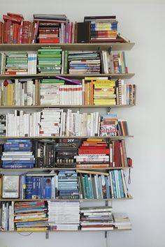 Sparrow: Milk.   Bookshelf with blocks of color