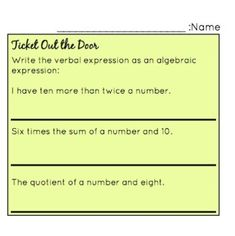 Comprehension Check for - Algebraic Expressions Ticket Out the Door