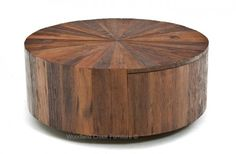 Modern Rustic Round Coffee Table with Drawer