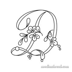Floral Script Monogram from Needle and Thread for hand embroidery. Collect each free pdf as they are published.