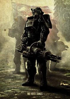 print on metal Characters power armor fallout scifi