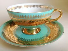 German RWK Tea Cup and Saucer,RWK, Rudolf Wachter Kirchenlamitz Teacup and Saucer, Tea Set, Aqua Gold Tea Cups, Bavarian Teacups, Tea Sets