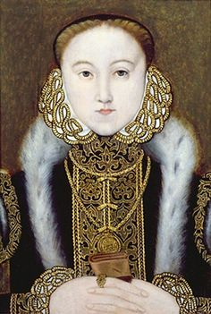 This looks a lot like a portrait of Lady Jane Grey, who was Queen of England for nine days (July 10-19, 1553). Elizabeth I as Princess, c.1555. Artist Unknown. Private Collection.