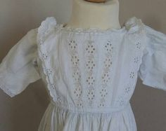 Antique Long Christening Gown or Baptism by LilysVintageLinens