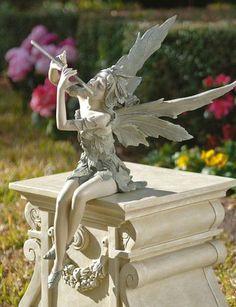 Sitting Fairy Flutist Statue