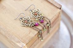 Brass long dangle wire wrap earrings with ruby by SabiKrabi, $45.00