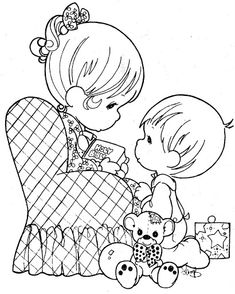 Mother's day Precious moments coloring pages - DIY and Crafts Christmas Coloring Pages, Coloring Book Pages, Printable Coloring Pages, Coloring Sheets, Boy Coloring, Precious Moments Coloring Pages, To Color, Digi Stamps, Copic