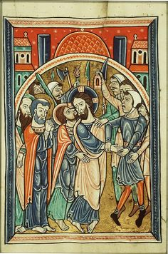 Fecamp Psalter 1180: Judas gave Jesus Christ the kiss of betrayal on the face, as a way to point out to the Roman military the right person to arrest.