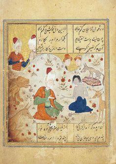برگی از یک مرقع، مجنون در بیابان، دوره صفویه، قرن 16 میلادی برگ 17.7 X 11.5cm A POETRY ANTHOLOGY SAFAVID IRAN, 16TH CENTURY The story of Layla and Majnun, Persian manuscript on variously coloured paper, illustration of Majnun in the desert. Text panel 10.9 x 6.2cm folio 17.7 x 11.5cm