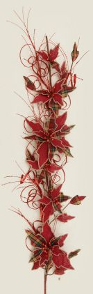 Your Heart's Delight by Audrey's - GARLAND - BURLAP POINSETTIA RED AND PLAID