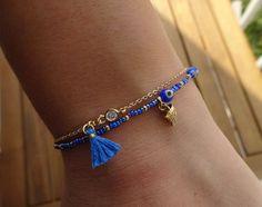 Blue Evil Eye Perlen Armband mit Quaste von cocolocca auf Etsy