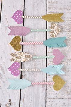 Paper Straw Arrows of Love - super cute quick & easy craft for Valentine's!