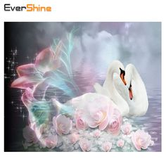 EverShine 5D Full Diamond Embroidery Swans Square Crystal Diamond Painting Cross Stitch Animal Pattern Diamond Mosaic Home Decor #Affiliate
