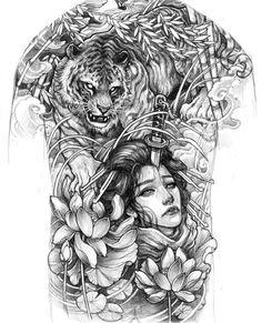 Back Piece Tattoo, Back Tattoo, Tiger Drawing, Chicano, Tattoo Designs, Mandala, Lion Sculpture, Japanese, Ink