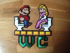 Hama Beads. Mario + Pitch. WC.